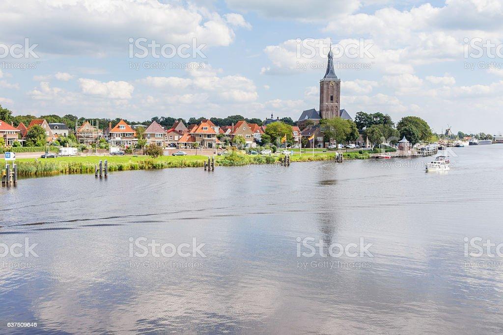 Cityscape Hasselt, municipality Zwartewaterland, from the green - foto de stock