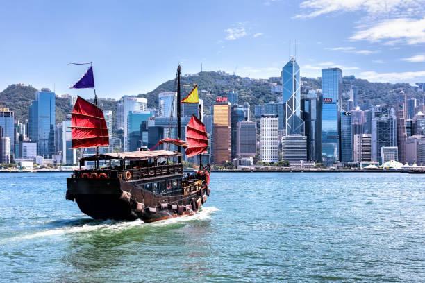 Cityscape Hong Kong and Junkboat at sunny day stock photo