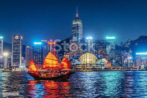 Junkboat of Hong Kong at Night