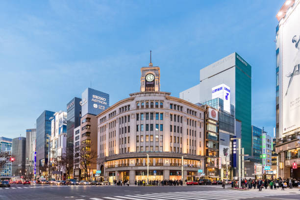 Cityscape in the Ginza District. stock photo