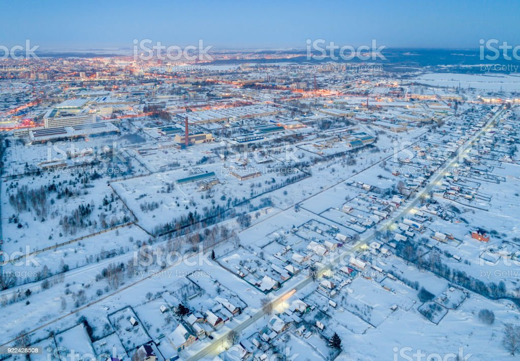 Cityscape in Winter, Night Aerial View stock photo