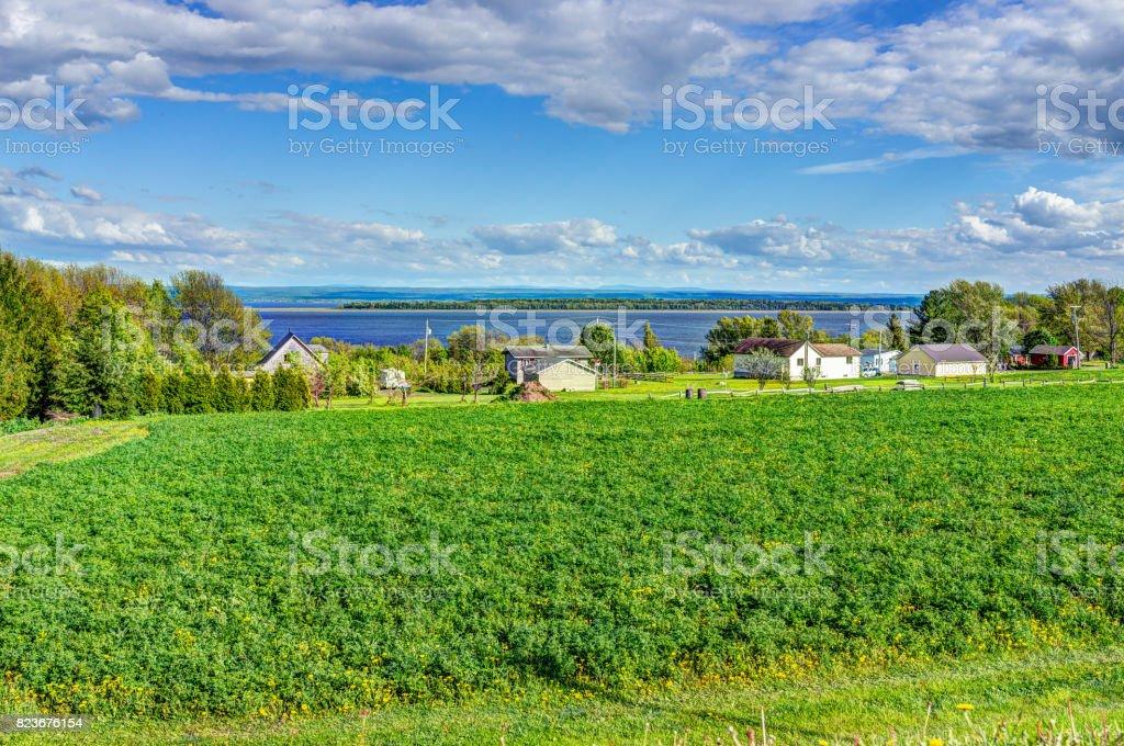Cityscape landscape view of farmland in Ile D'Orleans, Quebec, Canada stock photo