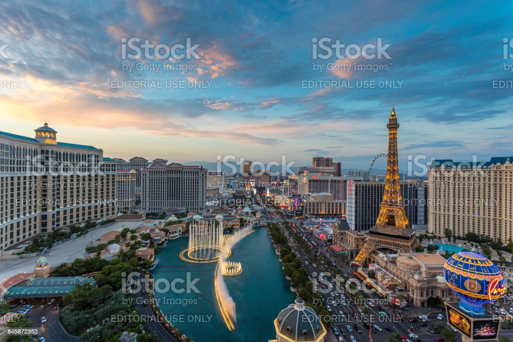 Cityscape Las Vegas Skyline at Sunset stock photo