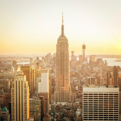Cityscape Manhattan Sunset New York Stock Photo - Download Image Now