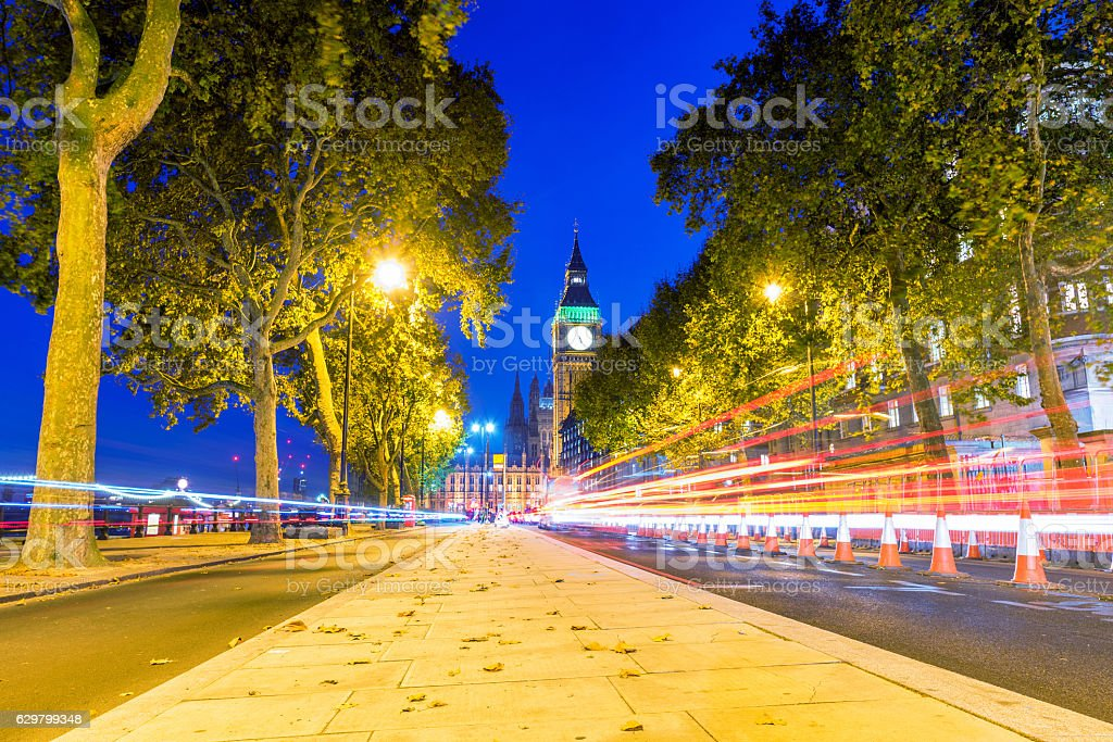 Cityscape of a Street in Westminster at night stock photo