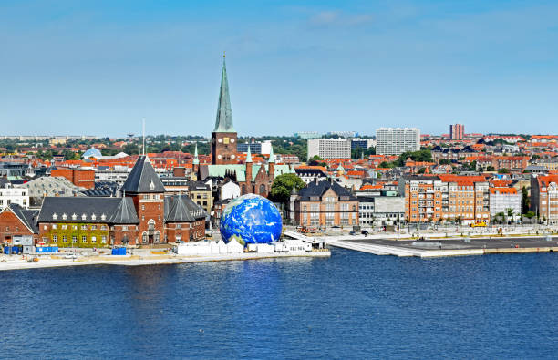 cityscape of aarhus in denmark - denmark stock photos and pictures