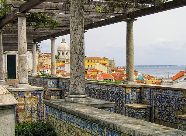 Cityscape of Alfama from Miradouro de Santa Luzia (Lisbon) stock photo
