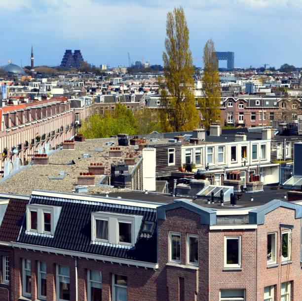 Cityscape of Amsterdam in April stock photo