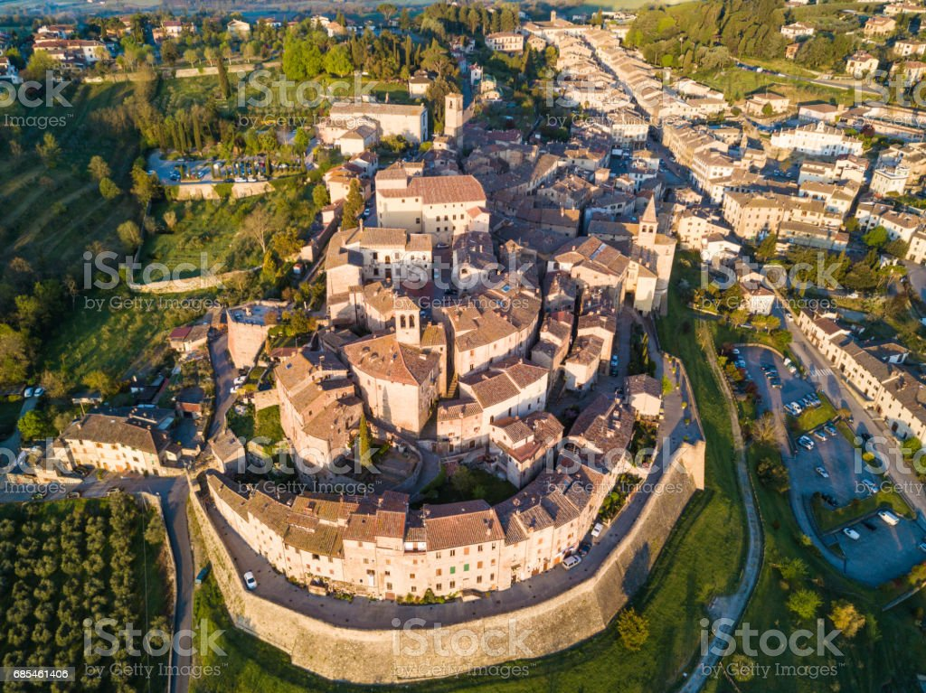 Cityscape of Anghiari in Tuscany from above, Italy stock photo