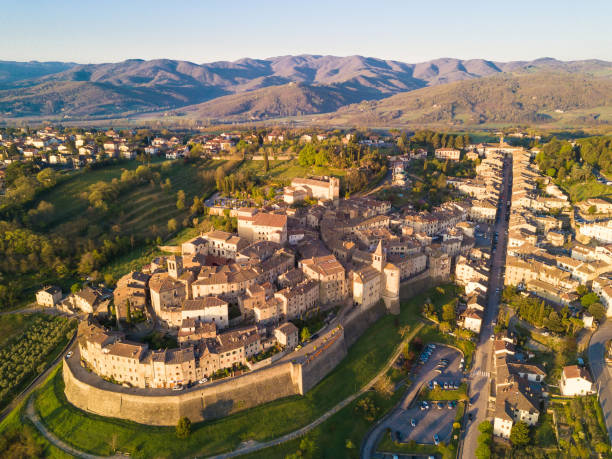 Cityscape of Anghiari in Tuscany from above, Italy The town of Anghiari from above, Tuscany. arezzo stock pictures, royalty-free photos & images