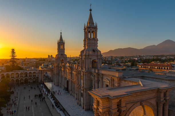 Cityscape of Arequipa at Sunset, Peru stock photo