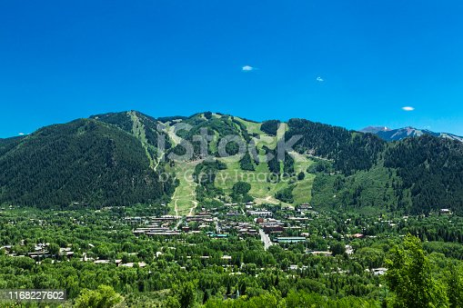 High angle cityscape of Aspen, Colorado, USA.
