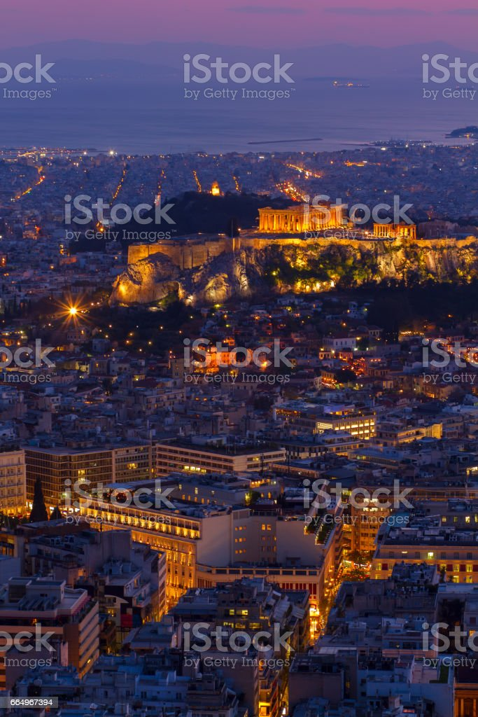 cityscape of Athens at night, Greece stock photo