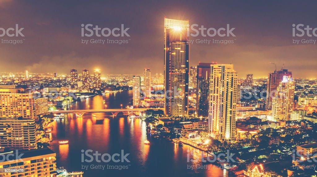 cityscape of Bangkok at night, Thailand stock photo
