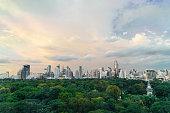 Cityscape of Bangkok downtown near Lumpini Park, Thailand
