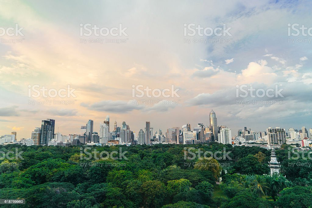 Cityscape of Bangkok. Lumpini Park stock photo