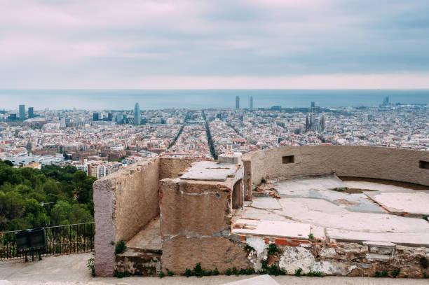 Cityscape of Barcelona - Bunkers del Carmel Bird's eye view of Barcelona from Bunkers del Carmel or Turó de la Rovira bomb shelter stock pictures, royalty-free photos & images