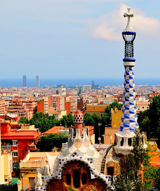 Cityscape of Barcelona, Spain stock photo