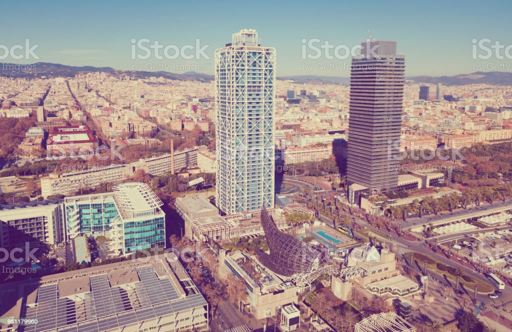 Cityscape of Barcelona with skyscrapers on embankment stock photo