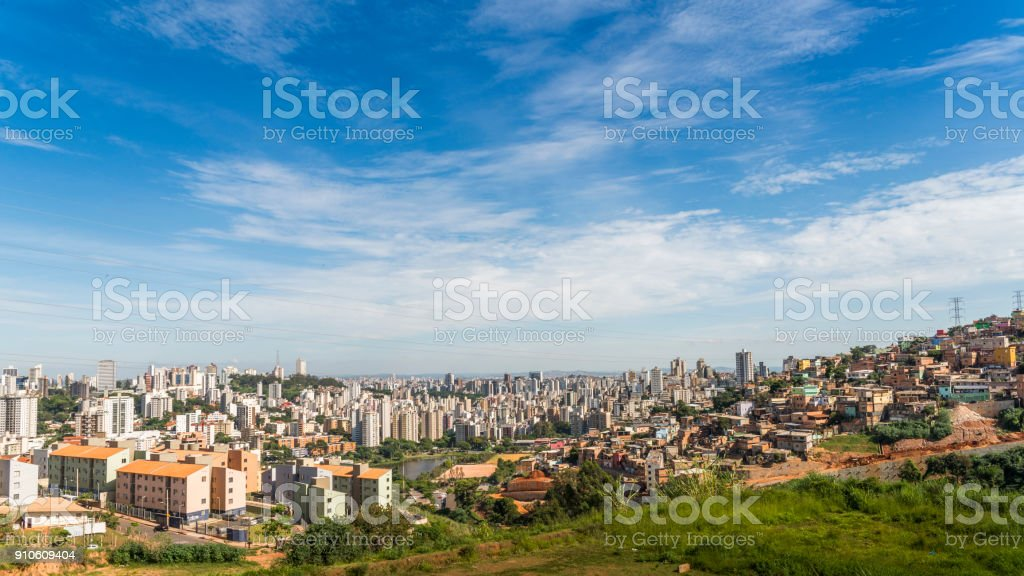 Cityscape of Belo Horizonte, meaning Beautiful Horizon, is the sixth largest city in Brazil stock photo