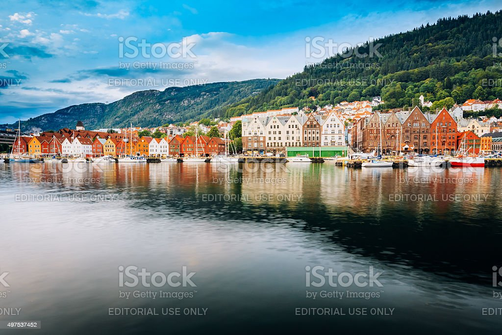 Cityscape of Bergen, Norway. Architecture Background stock photo
