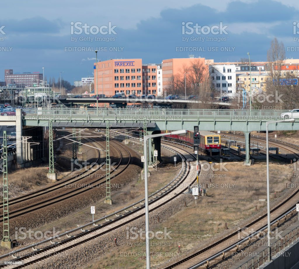 Cityscape of Berlin with highway and railroad lines stock photo