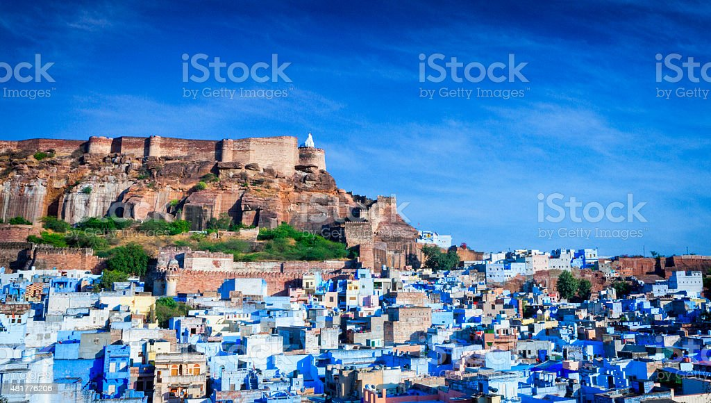 Cityscape of Blue City and Mehrangarh Fort - Jodhpur, India stock photo