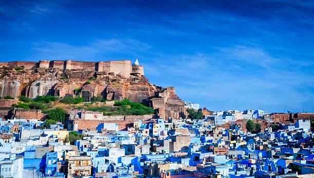 Cityscape of Blue City and Mehrangarh Fort - Jodhpur, India stock photo