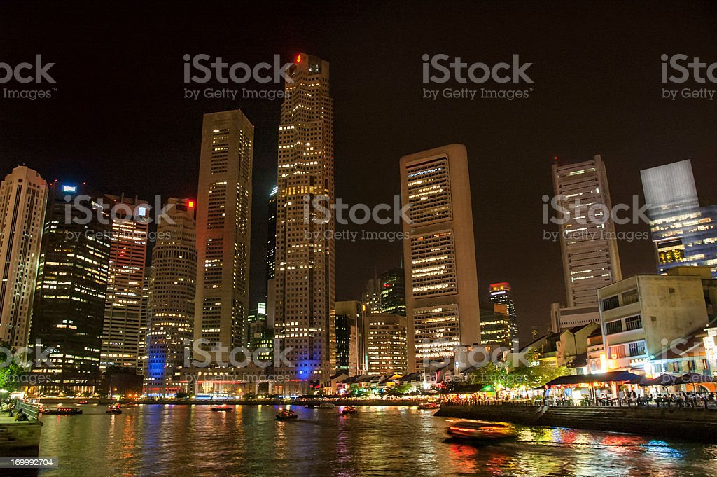Cityscape Of Boat Quay, Singapore royalty-free stock photo