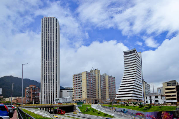 Cityscape of Bogota, Colombia. BOGOTA,COLOMBIA-JUNE 15,2016: Cityscape showing various building and streets of Bogota´s downtown at Colombia. bus rapid transit stock pictures, royalty-free photos & images