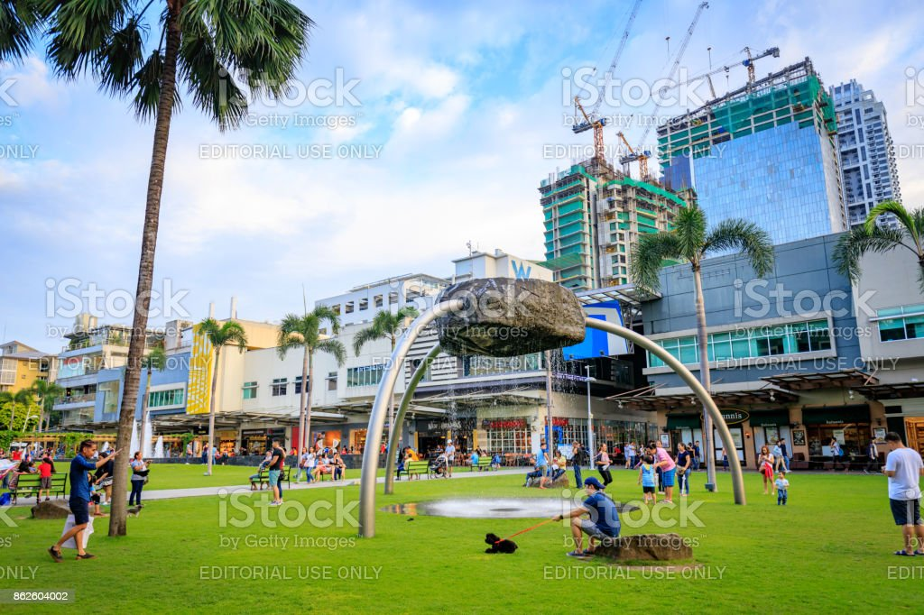 Cityscape of Bonifacio High street which is the Famous shopping street on Sep 1, 2017 in Taguig, Manila, Philippines stock photo