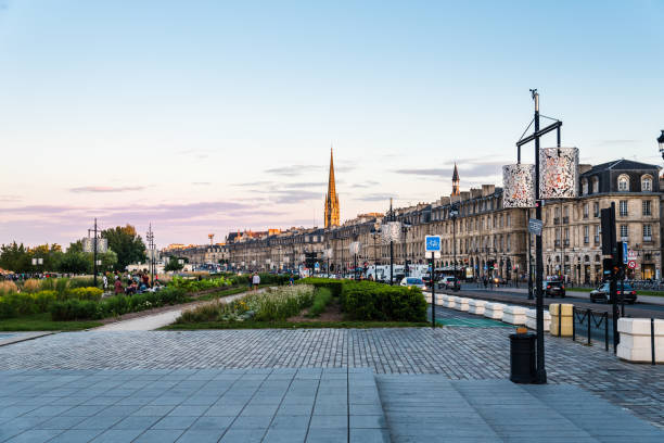 Cityscape of Bordeaux from Water Mirror at sunset stock photo