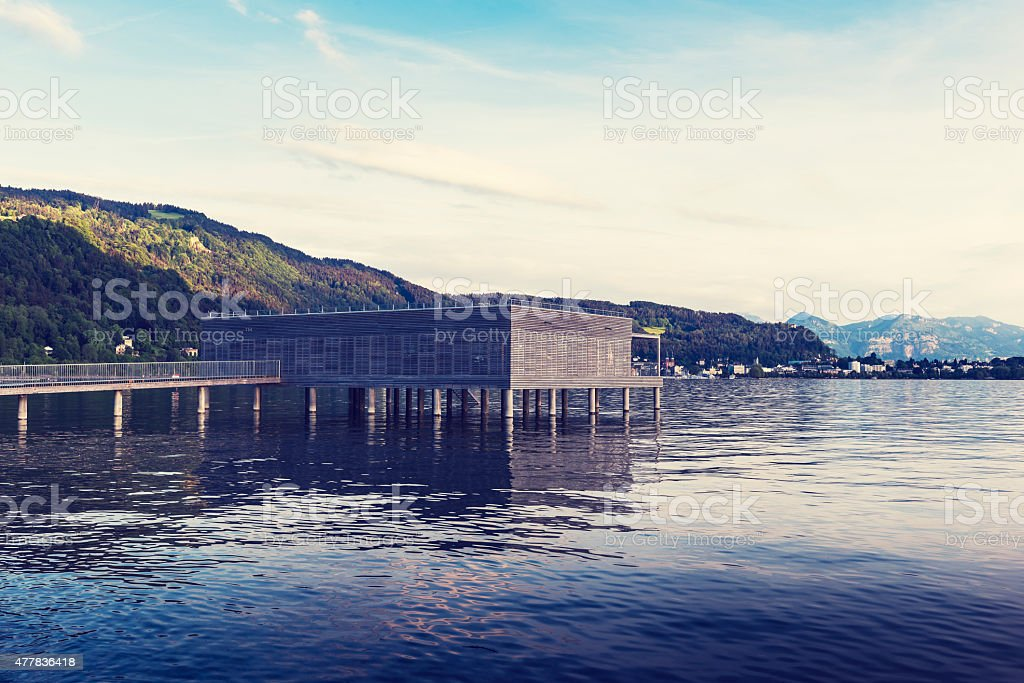 Cityscape of Bregenz and Constance Lake - Bodensee. stock photo