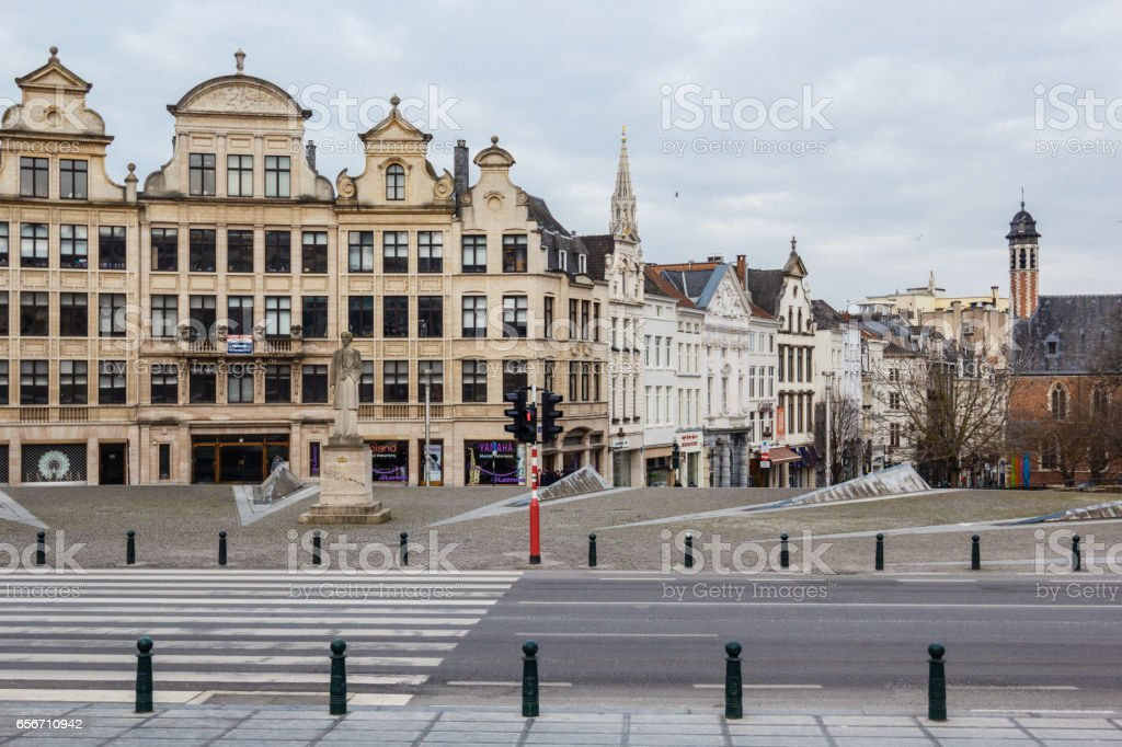 Cityscape of Brussels, Belgium from Mont des Arts stock photo