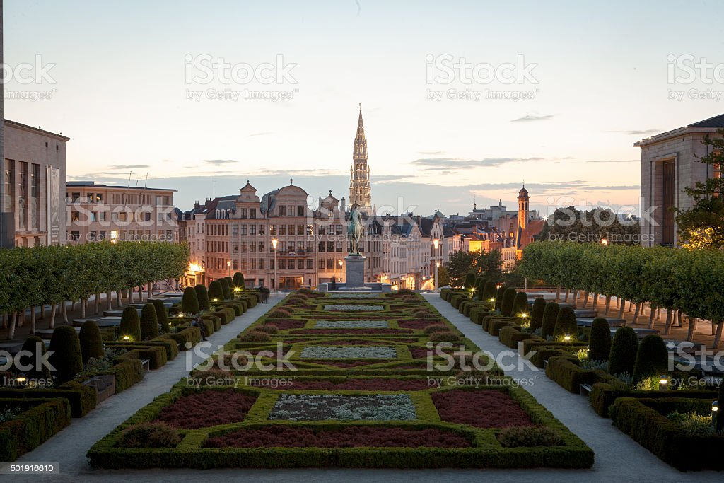 Cityscape of Brussels from Mont des Arts at dusk stock photo