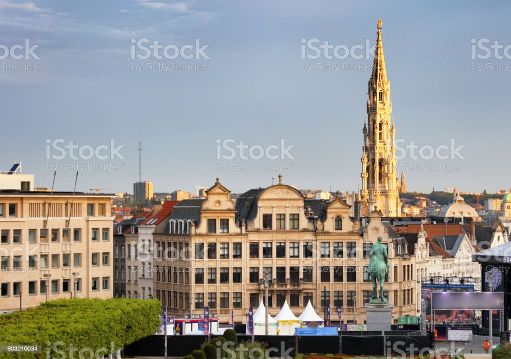 Cityscape of Brussels in a beautiful summer day stock photo