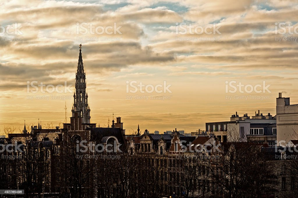 Cityscape of Brussels in a beautiful winter day at sunset stock photo