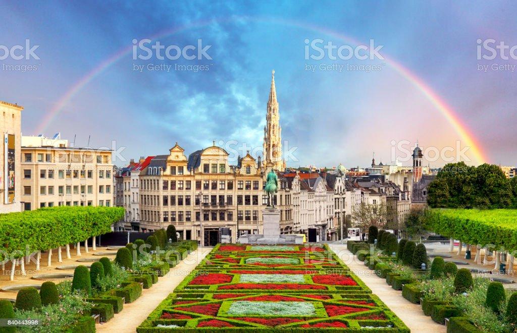 Cityscape of Brussels with rainbow, Belgium panorama skyline stock photo