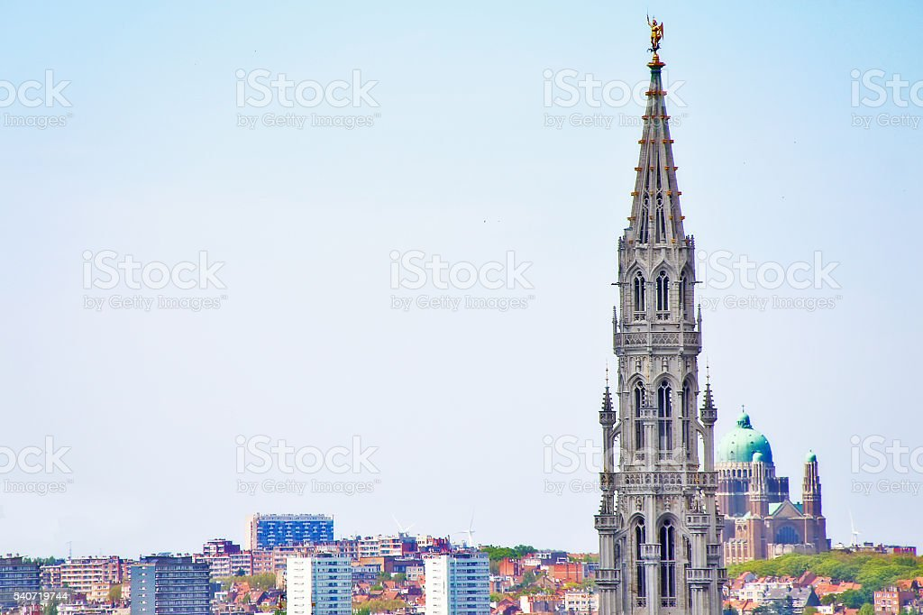 Cityscape of Brussels (Bruxelles) with Town Hall in Grand place stock photo