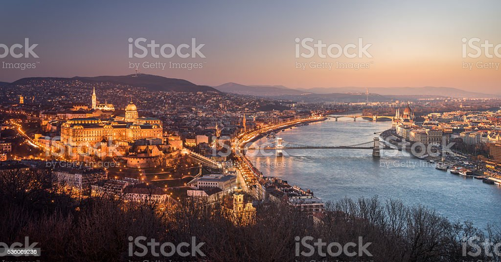 Cityscape of Budapest, Hungary at Night and Day stock photo
