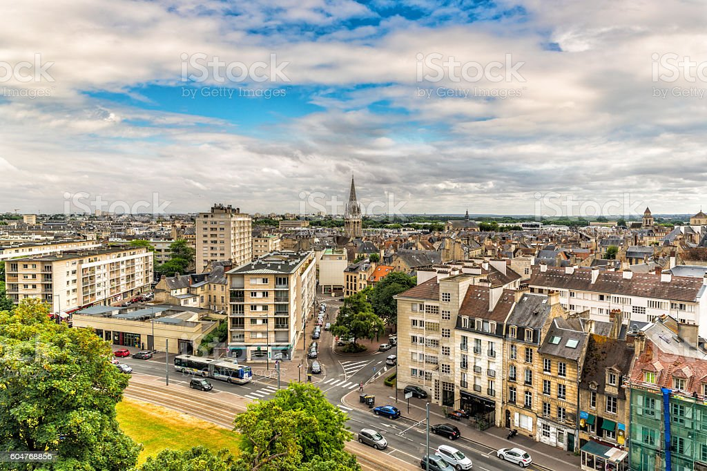 Cityscape of Caen in Normandy, France stock photo