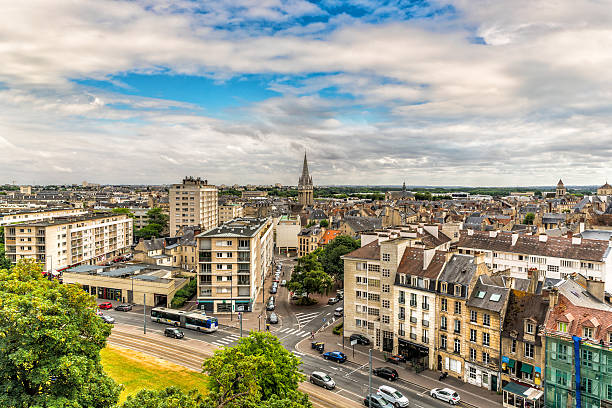 cityscape of caen in normandy, france - caen stock pictures, royalty-free photos & images