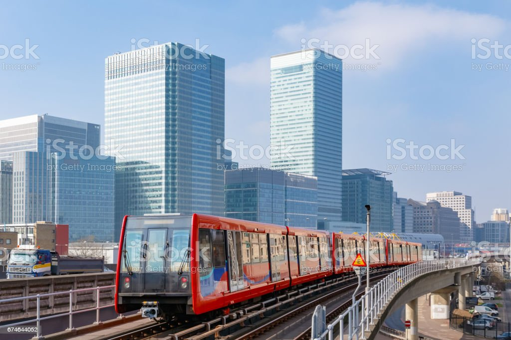 Cityscape of Canary Wharf in London stock photo