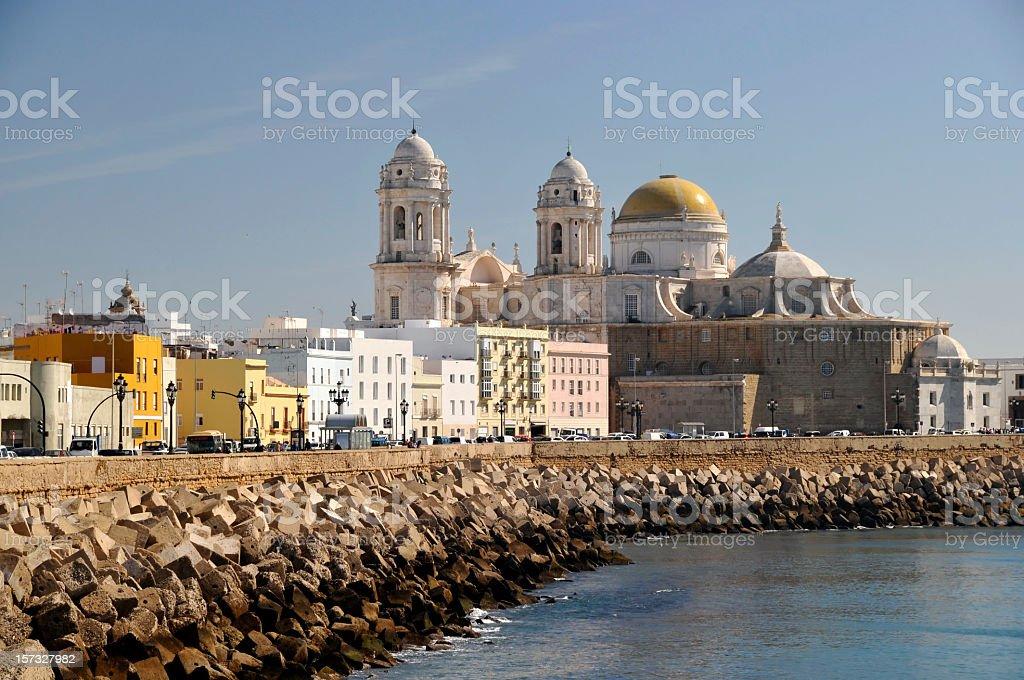 Cityscape of Cádiz:Paseo Campo del Sur, Spain royalty-free stock photo