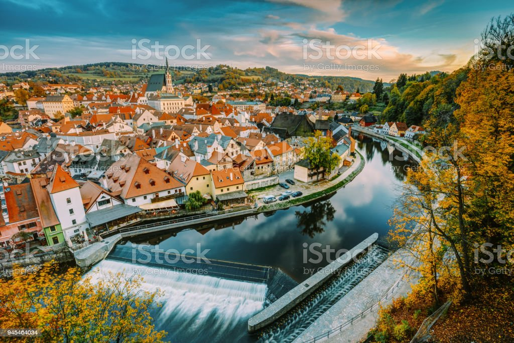 Cityscape Of Cesky Krumlov, Czech Republic. Autumn Evening At Susnet Time. UNESCO World Heritage Site. Popular Touristic Town stock photo