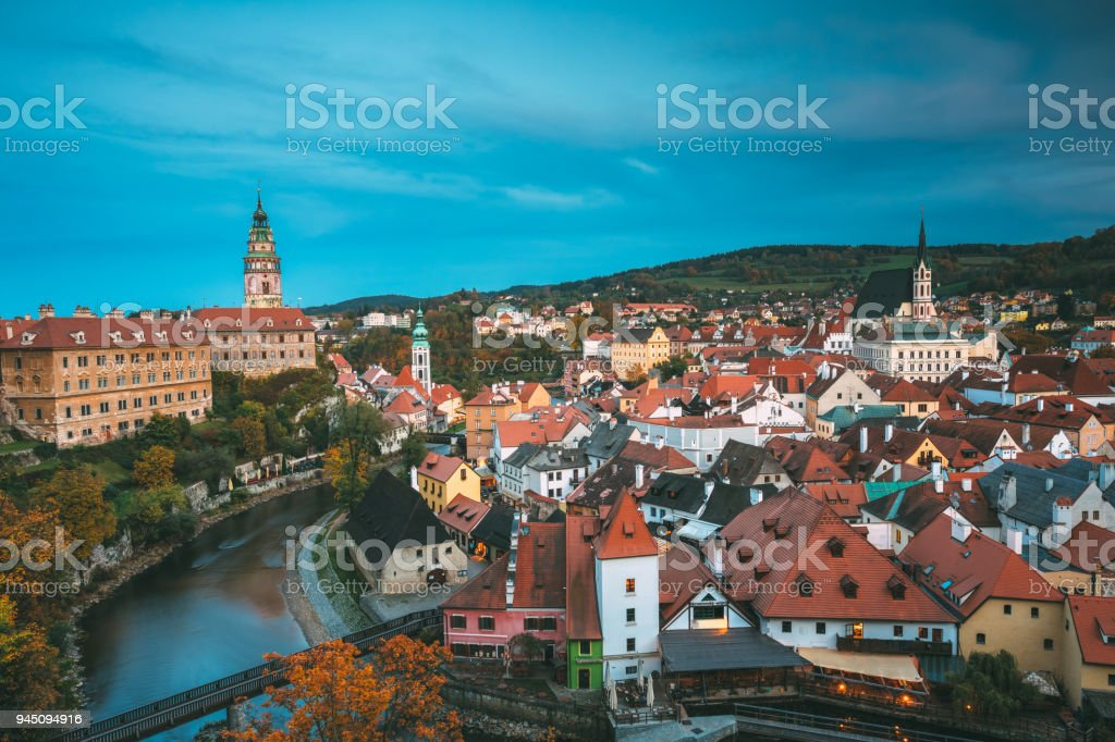 Cityscape of Cesky Krumlov, Czech republic. Autumn evening night view. stock photo