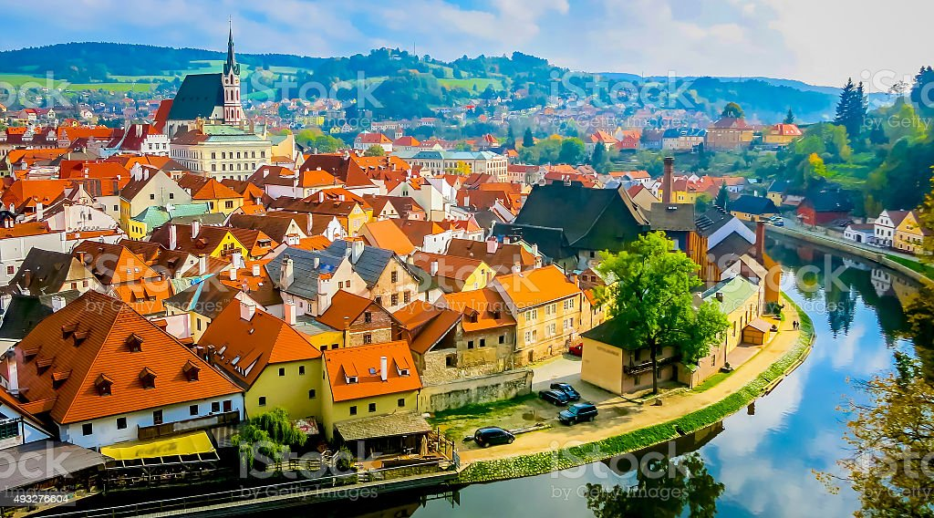 cityscape of Cesky Krumlov stock photo