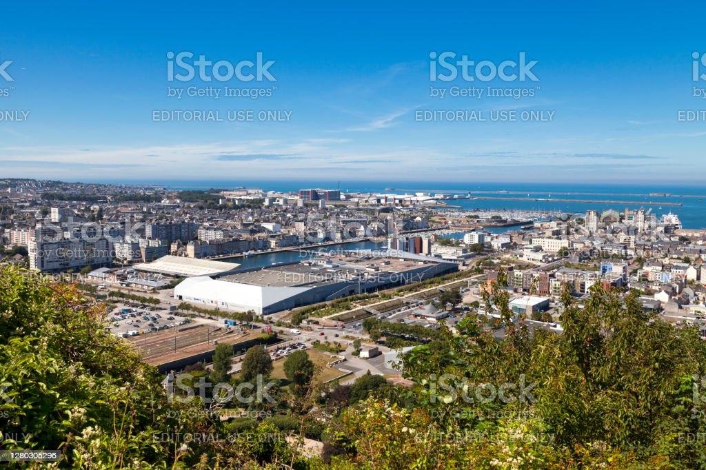 Cityscape of Cherbourg-en-Cotentin Cherbourg-en-Cotentin, France - August 06 2020: Aerial view of the city center including the shopping mall Les Eléis, the Basilica Sainte-Trinité and the West Fort. Aerial View Stock Photo
