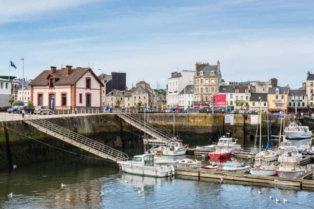 Cityscape of Cherbourg-Octeville, Normandy, France Cherbourg, France - May 22, 2017: View of the coastal city of Cherbourg-Octeville harbor, on the north of the Cotentin peninsula. Vacation in France. cherbourg stock pictures, royalty-free photos & images