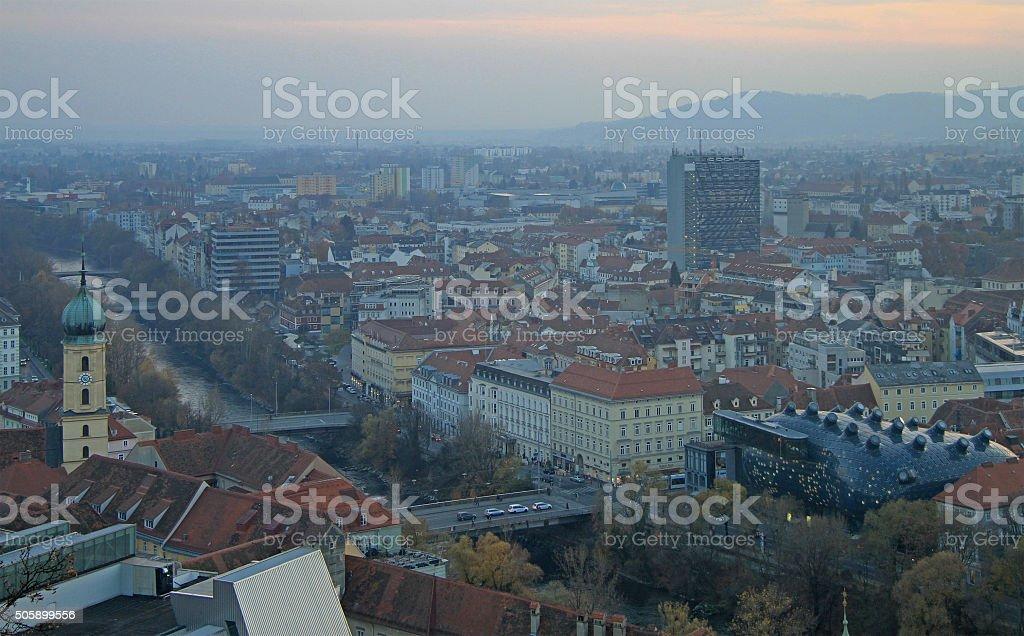 cityscape of city Graz, the capital, Styria stock photo
